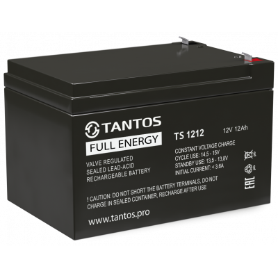 Аккумулятор 12 В 12 А∙ч (TS 1212) Tantos Аккумуляторная батарея свинцово-кислотная AGM