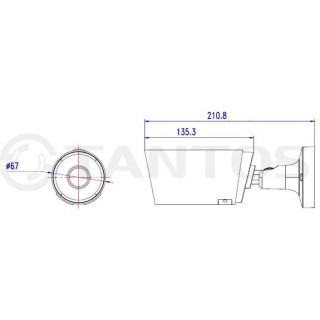 IP-камера цилиндрическая Tantos TSi-Pn525F
